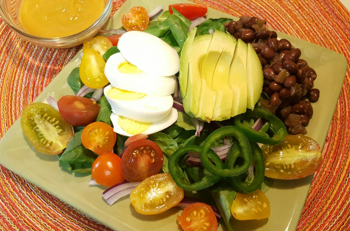 Baby Spinach Salad with Homemade Mango Chipotle Dressing